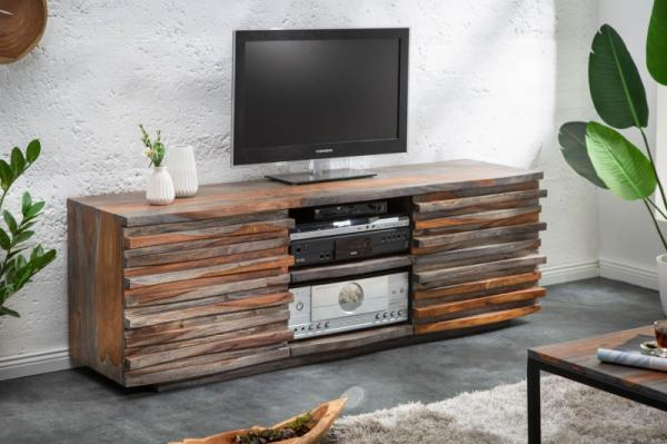 Masívny TV stolík RELIEF 150 cm Sheesham  wood grey smoke